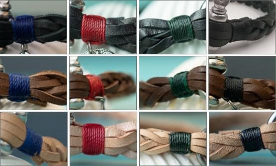 Übersicht der verschiedenen Farbkombinationen von Leder und Abschlusstakling